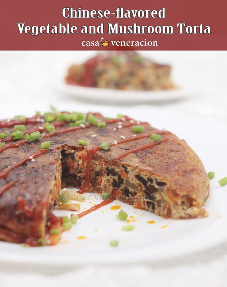 Flavored with black beans, chili and garlic, this Chinese-flavored vegetable and mushroom torta has wood ear mushrooms, chayote, carrot and shallots.