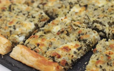 Made with Filipino kesong puti (white cheese from carabao milk) and mozzarella, this cheesy artichoke and spinach tart is a great dish to start any party.