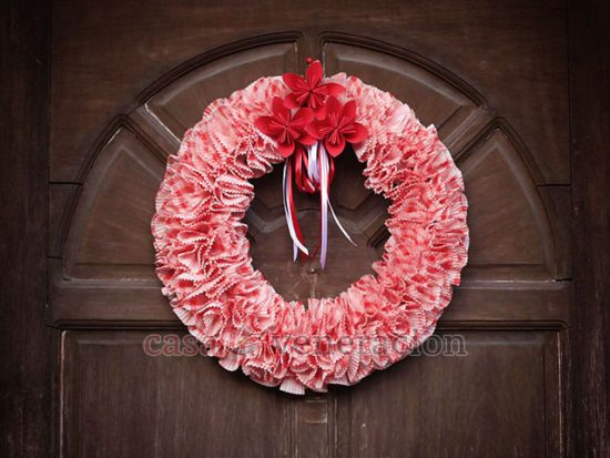 DIY Cupcake Liners and Poinsettia Origami Christmas Wreath