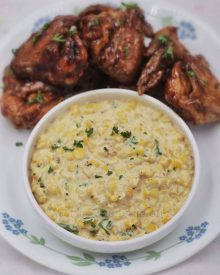 Made with freshly shredded sweet corn. Thyme, sage, butter, onion and Parmesan gives this herbed creamed corn its wonderful flavors and aroma.