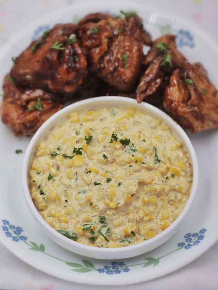 Made with freshly shredded sweet corn. Thyme, sage, butter, onion and Parmesan give this herbed creamed corn its wonderful flavors and aroma.
