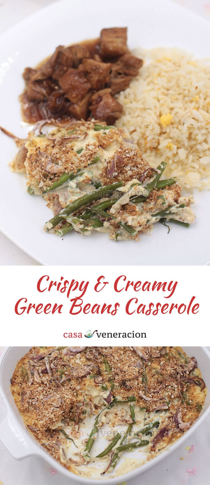 Green beans sauteed in butter are mixed with cream and topped with crispy onions and breadcrumbs. Get the recipe for crispy and creamy green beans casserole!