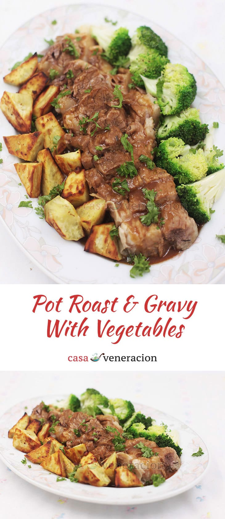 Perfect for the cooler weather, this pot roast and gravy with vegetables requires a few hours of cooking BUT very little supervision. Easy. Delicious.