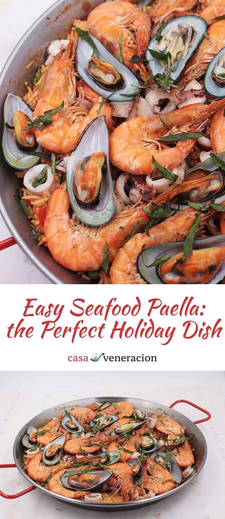 For rice-loving Filipino-Americans who like to pair their Thanksgiving turkey with non-traditional side dishes, here's a non-traditional easy seafood paella recipe.