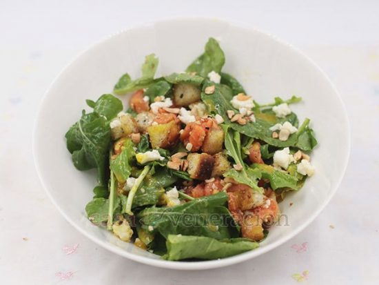 Smoked Salmon and Arugula Salad With White Cheese and Herbed Croutons