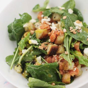 On Thanksgiving and Christmas, start that special meal with smoked salmon and arugula salad. White Cheese and herbed croutons add so much oomph.
