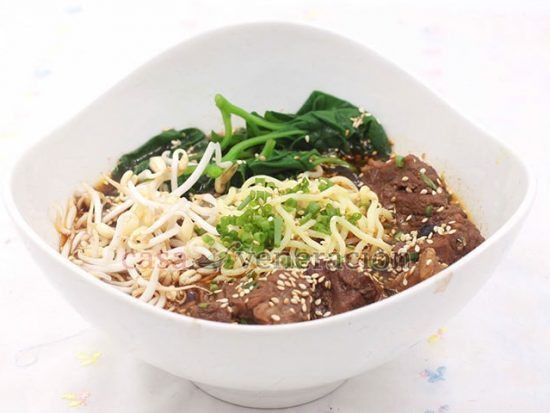 Combine Korean beef stew a la House of Kimchi with noodles, spinach and bean sprouts to make this spicy beef noodle soup. Perfect for the cold weather!