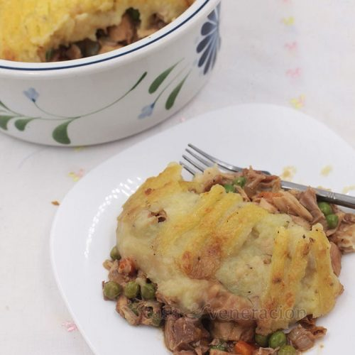 Mashed potato-topped leftover roast turkey farmer's pie moistened with excess gravy is a lovely way to use scrap meat from your Thanksgiving turkey.