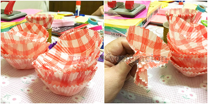 Make A Christmas Wreath With Cupcake Liners