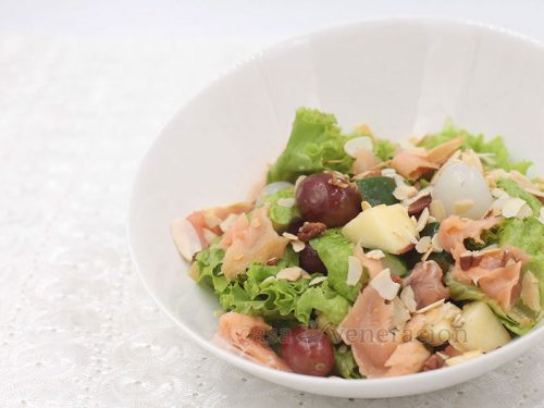 Garden Salad With Fruits, Nuts and Smoked Salmon