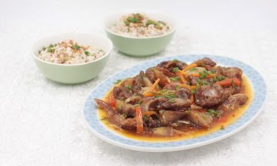 The popular name for this Filipino-Chinese dish is halo, literally mixed, because the diced pork face is mixed with other pork intestines, tongue and stomach. This sweet spicy pork cheeks recipe is a variation of halo.