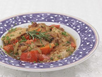 "Inspired by Simon and Garfunkel's ""Scarborough Fair"", this chicken stew is cooked in apple cider and flavored with parsley, sage, rosemary and thyme."