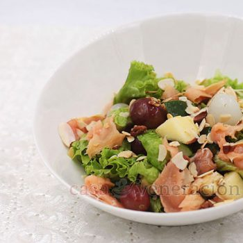 Make that garden salad pop with chunks of fruits, chopped roasted nuts and plenty of smoked salmon. Toss with herbed calamansi dressing and enjoy!