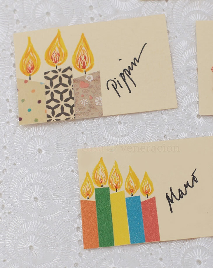 Take a piece of cardboard, cut into the desired size, create holiday images with washi tape and ink. Result? Unique one-of-a-kind DIY Christmas gift tags.