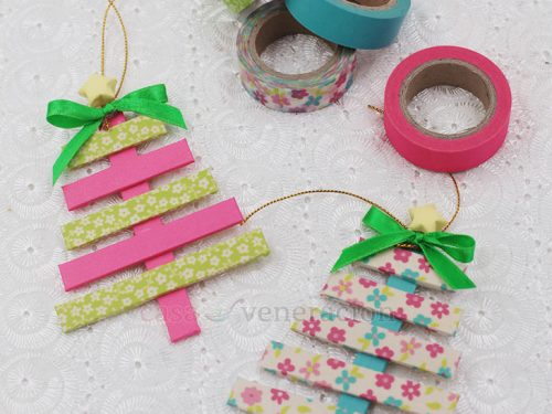 Popsicle Sticks and Washi Tape Christmas Tree Ornaments