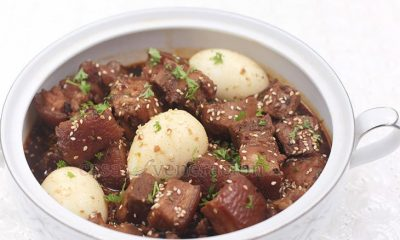 Take the recipe for Korean beef stew a la House of Kimchi, substitute pork belly for the beef and you have a holiday-perfect sweet and spicy pork stew.