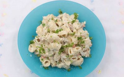Made with leftover roast turkey, this turkey macaroni and pecan salad has carrot, celery, crushed pineapple and plenty of grated Parmesan.