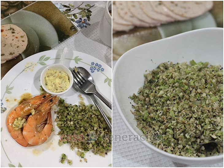"""For the cold platter, we had cold meat, cheese, fruits and nuts. For the hot dishes, we grilled shrimps and tuna served with cauliflower and broccoli """"fried rice""""."""