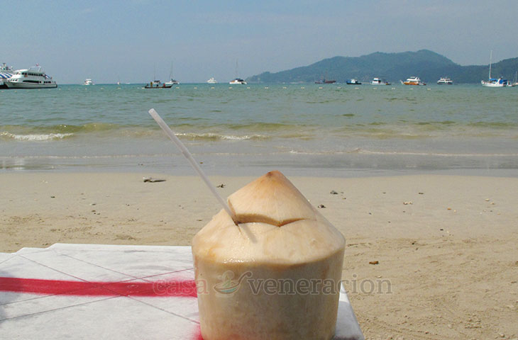 Fresh coconut juice in husk