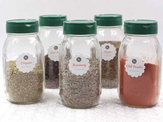 Keep your kitchen better organized by clearly labeling spice and herb jars. Label every jar (not the caps) and make the labels large enough so they easily readable.