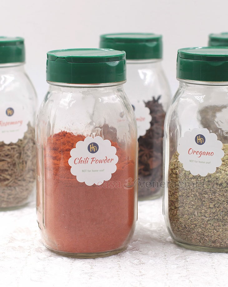 Keep your kitchen better organized by clearly labeling spice and herb jars. Label every jar (not the caps) and make the labels large enough so they are easily readable.
