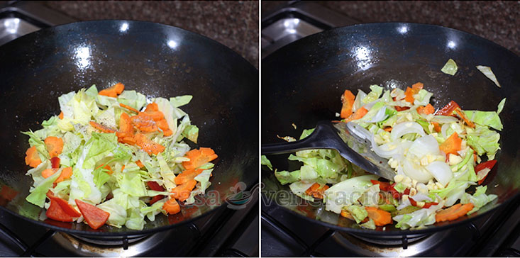 Cooking Basics for Perfect Stir Fries Tip #3: Stir fry the vegetables with a bit of salt and pepper