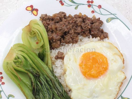 Thai Beef, Bok Choy and Egg Platter