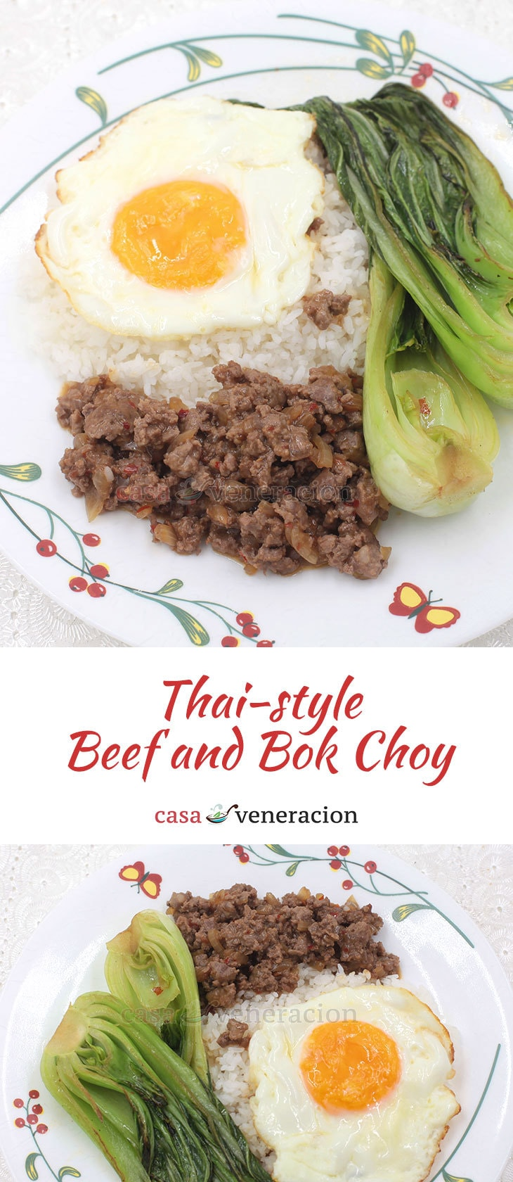 A tasty and filling breakfast dish, this Thai beef, bok choy and egg platter is something you can enjoy any time of the day. Prep time is 10 minutes. Cook time is 10 minutes. #thai #breakfast