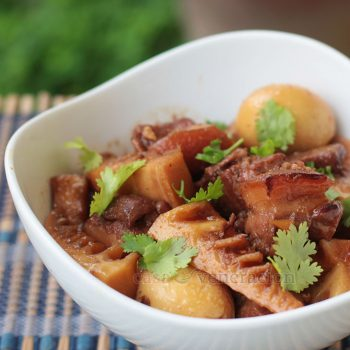 A long name for a dish but it still doesn't capture its essence fully. For a truly delicious Vietnamese-style caramel braised pork, eggs and bamboo shoots, the pork must be slow cooked in fresh coconut juice.