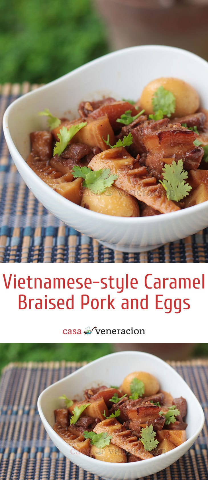 A long name for a dish but it still doesn't capture its essence fully. For a truly delicious Vietnamese-style caramel braised pork and eggs, the pork must be slow cooked in fresh coconut juice.