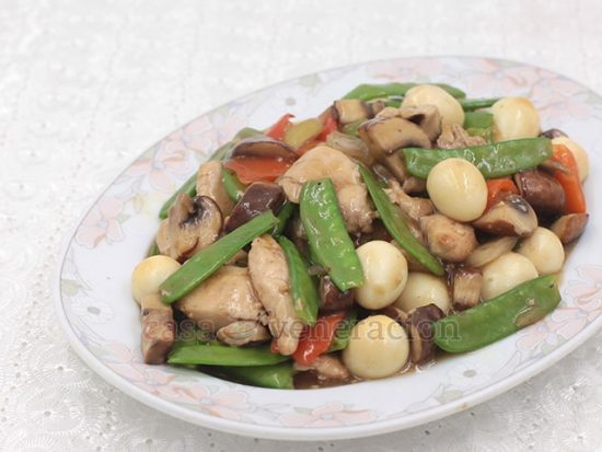 Preparation is a simple affair and cooking time is short. What takes time is marinating the chicken. It's essential to give the meat time to soak up the flavors of the soy sauce and garlic it is mixed with. That said, you really ought to try this chicken, chicharo (Chinese snow peas) and quail eggs stir fry. So good!