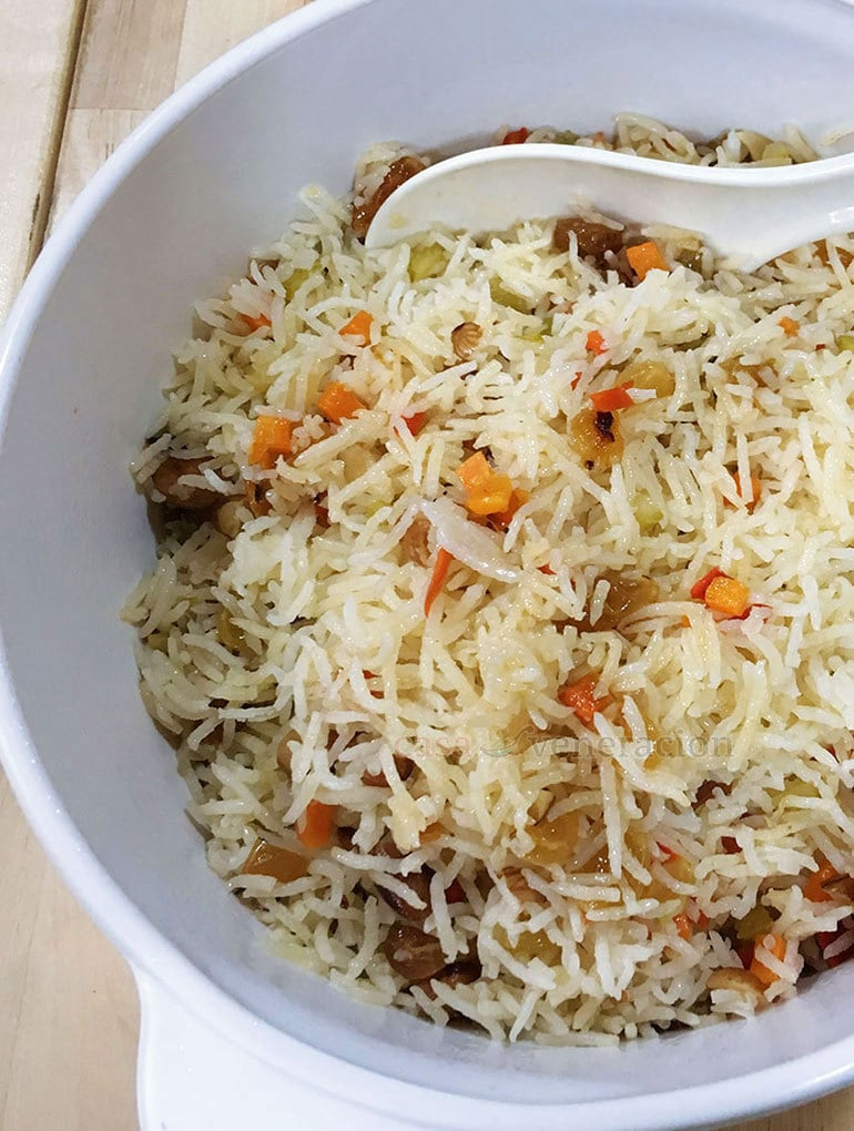 Rice sauteed in oil then cooked in broth is pilaf. There are no rules on what else you can add. For the most basic recipe, I like combining nuts and raisins to make the wonderful blend of savory, crunch and sweet.