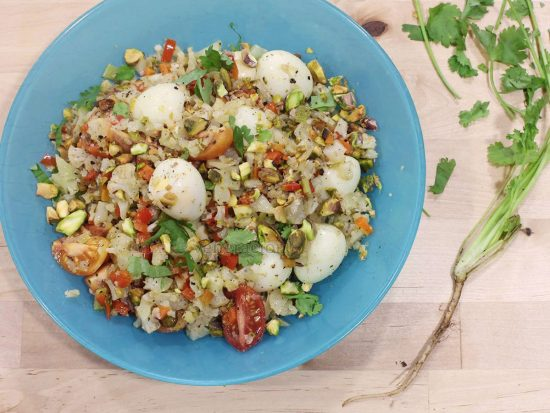 """Cauliflower """"Fried Rice"""" With Quail Eggs and Pistachio"""