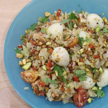 "The flavor base of this cauliflower ""fried rice"" with quail eggs and pistachio consists of bell pepper, carrot and celery sauteed in butter and olive oil. The colors are beautiful, the flavors are amazing and the texture will not fail to excite the taste buds. It's ovo-lacto vegetarian and keto diet friendly too if those two terms are important to you."