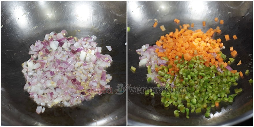 How to cook Chinese-style fried rice, step 2: Saute the spices to create a flavor base