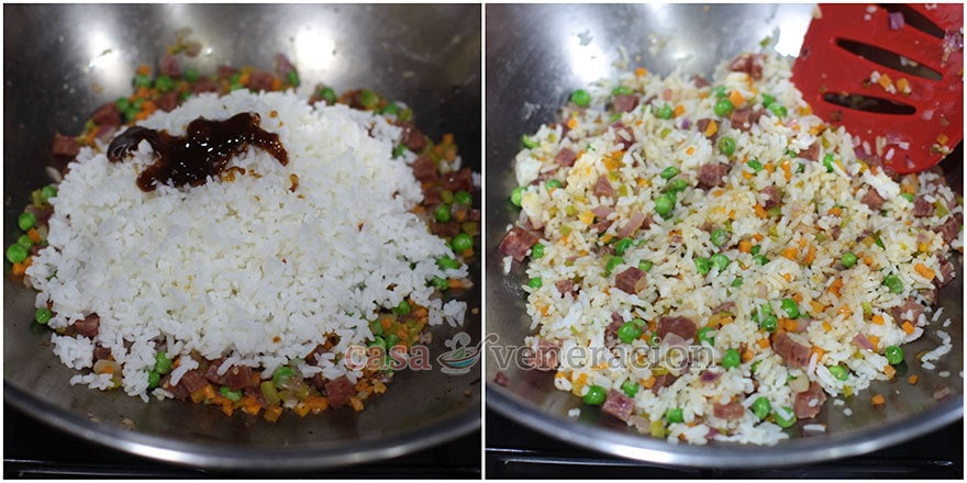 How to cook Chinese-style fried rice, step 4: Add the rice and seasoning
