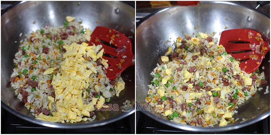 How to cook Chinese-style fried rice, step 5: Add the eggs, toss and drizzle in sesame seed oil