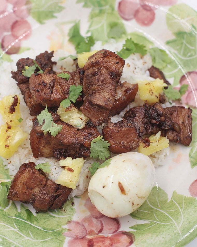 When cooking pork and pineapple adobo, use fresh pineapple. Divide the pineapple into two portions, simmer half with the pork and use the rest to garnish the dish.