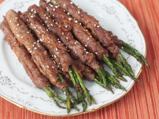 Beef-wrapped Asparagus With Teriyaki Sauce recipe