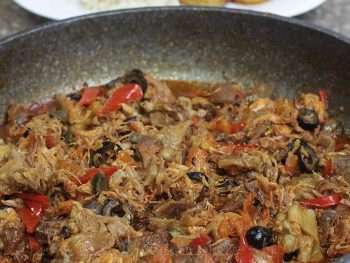 When cooking ropa vieja, don't sacrifice texture and mouth feel for good looks. Ditch the flank steak and Use stewing beef with a generous amount of fat.