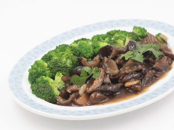 Chinese-style braised sea cucumbers and shiitake mushrooms make a delicious starter course.