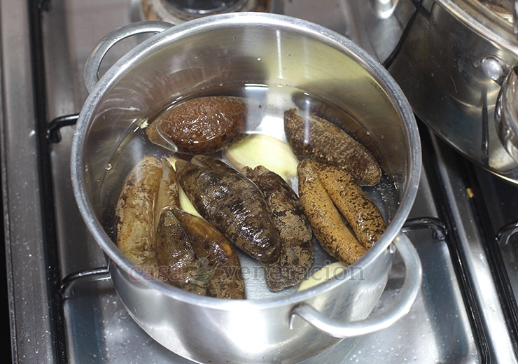 Chinese-style Braised Sea Cucumbers and Shiitake Mushrooms Recipe. Step 2: Boil the sea cucumbers with ginger to remove the strong fishy odor.
