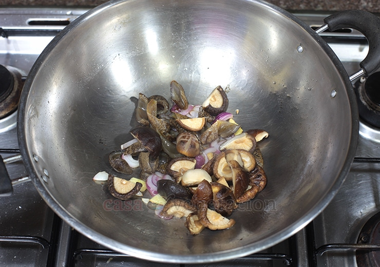 Chinese-style Braised Sea Cucumbers and Shiitake Mushrooms Recipe. Step 5: Add the rehydrated shiitake to the sauted aromatics