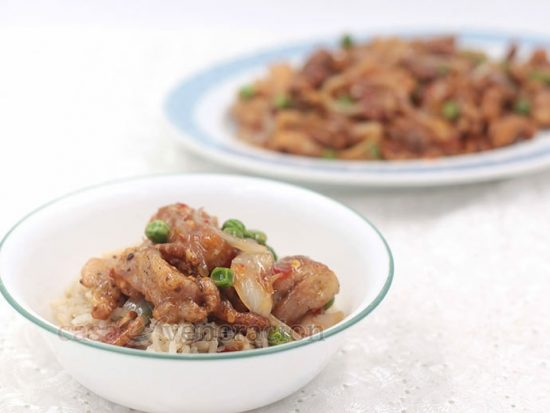 Sticky Sweet Sour Chicken With Pecans and Peas