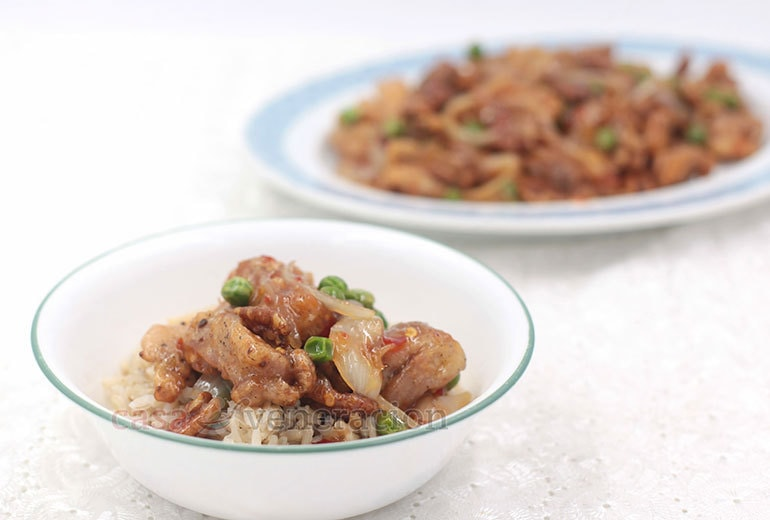 Get the recipe for this amazing sticky sweet sour chicken with pecans and peas!