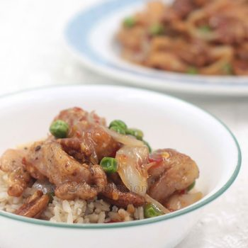 The secret to this dish is to make your own sweet and sour sauce without starch. That way the sauce forms a light caramelized crust that coats every piece of chicken and pecan. Get the recipe for sticky sweet sour chicken with pecans and peas!