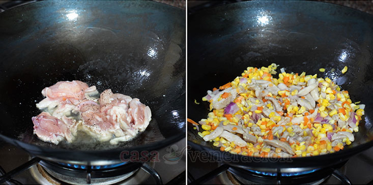 Chicken and Corn Egg Drop Soup Recipe: Lightly brown chicken strips, add corn, carrot and onion