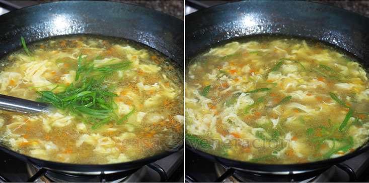 Chicken and Corn Egg Drop Soup Recipe: Add sliced scallions for more color and flavor.
