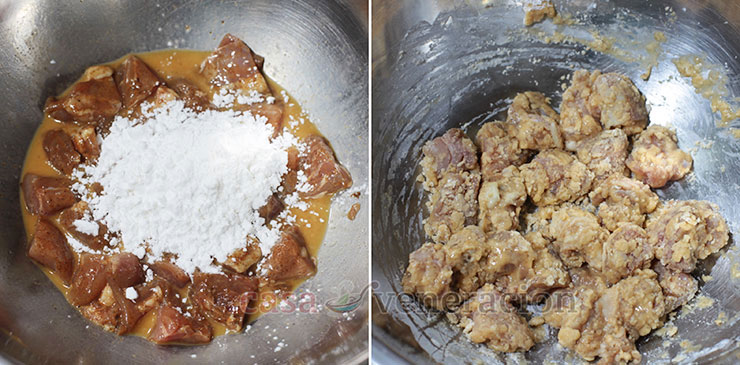 Explosive Dynamite Chicken Recipe, step 3: Toss egg-coated chicken in starch to make a pasty batter