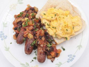 Sausage and Eggs for Breakfast? Add Black Bean Salsa for a New Look and Taste.